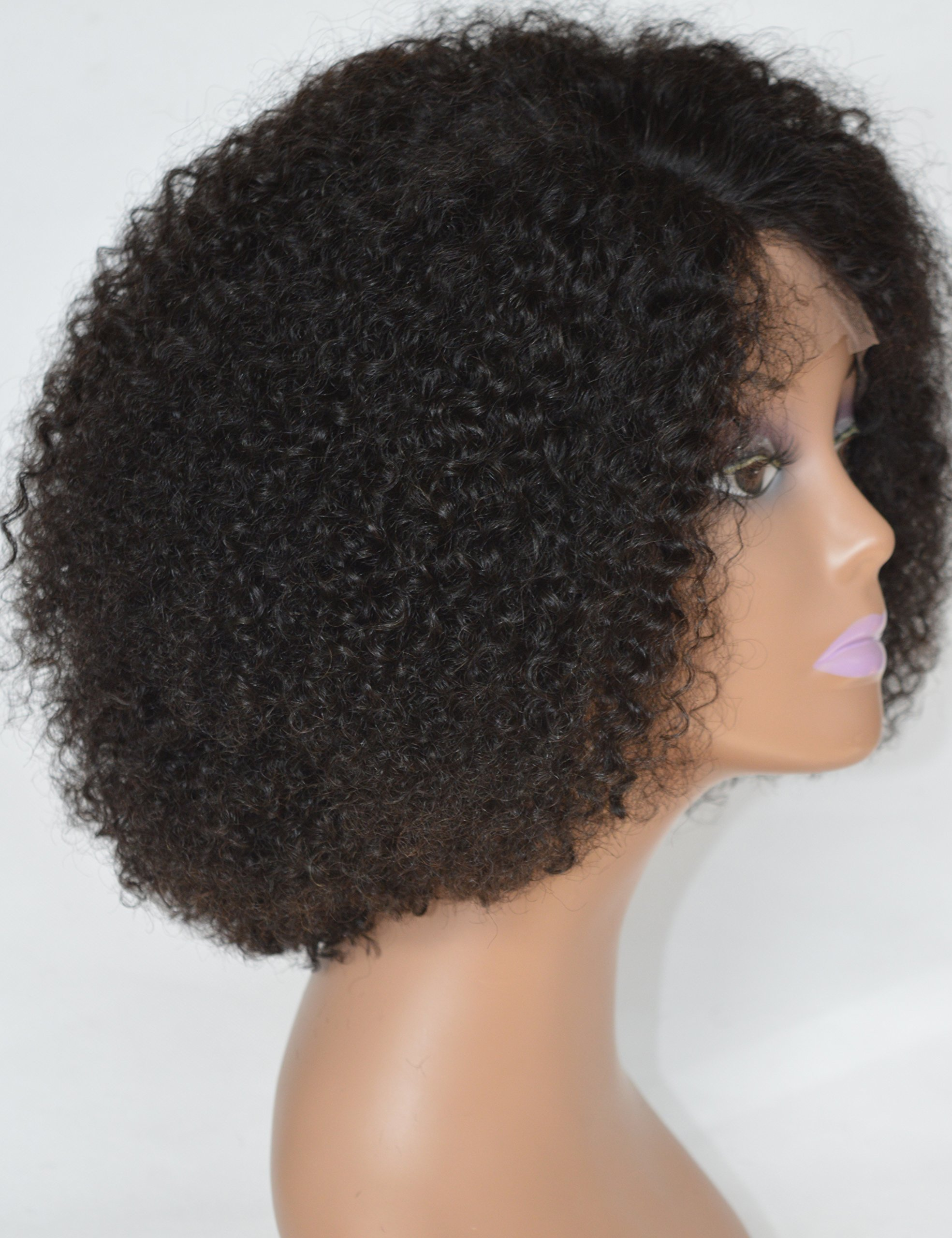 Chantiche Silk Top Invisible Deep Parting Short Kinky Curly Lace Wigs For Black Women Natural Looking Brazilian Remy Human Hair Wigs With Right Part 14 Inch #1B(GL-0103) by Chantiche Lace Wig (Image #9)