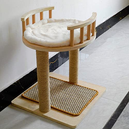 Luxury Handcrafted Perch Cat Tree, Medium Cat Tower with Sisal pad and Washable Faux Fur, Natural Solid Wood Pillars