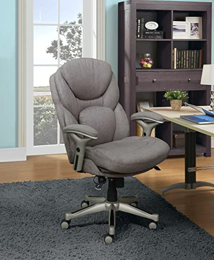 Incroyable Serta Works Executive Office Chair With Back In Motion Technology, Fabric,  Light Gray