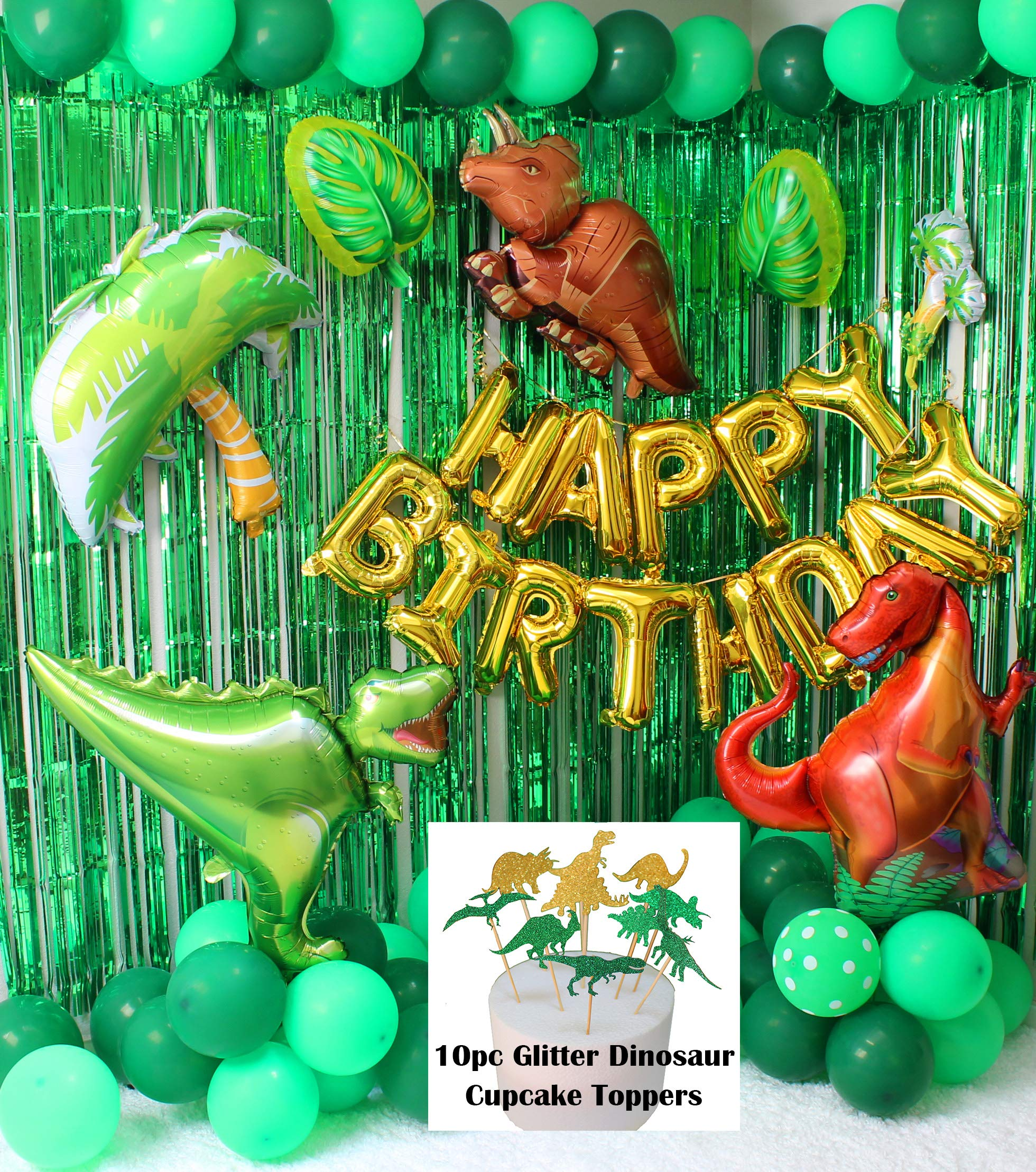 98 PCS Dinosaur Little Dino Party Supplies Decoration for Kids Boys Birthday Jurassic World Park Jungle Theme Backrop Cupcake Toppers Balloons by TaTaDirect