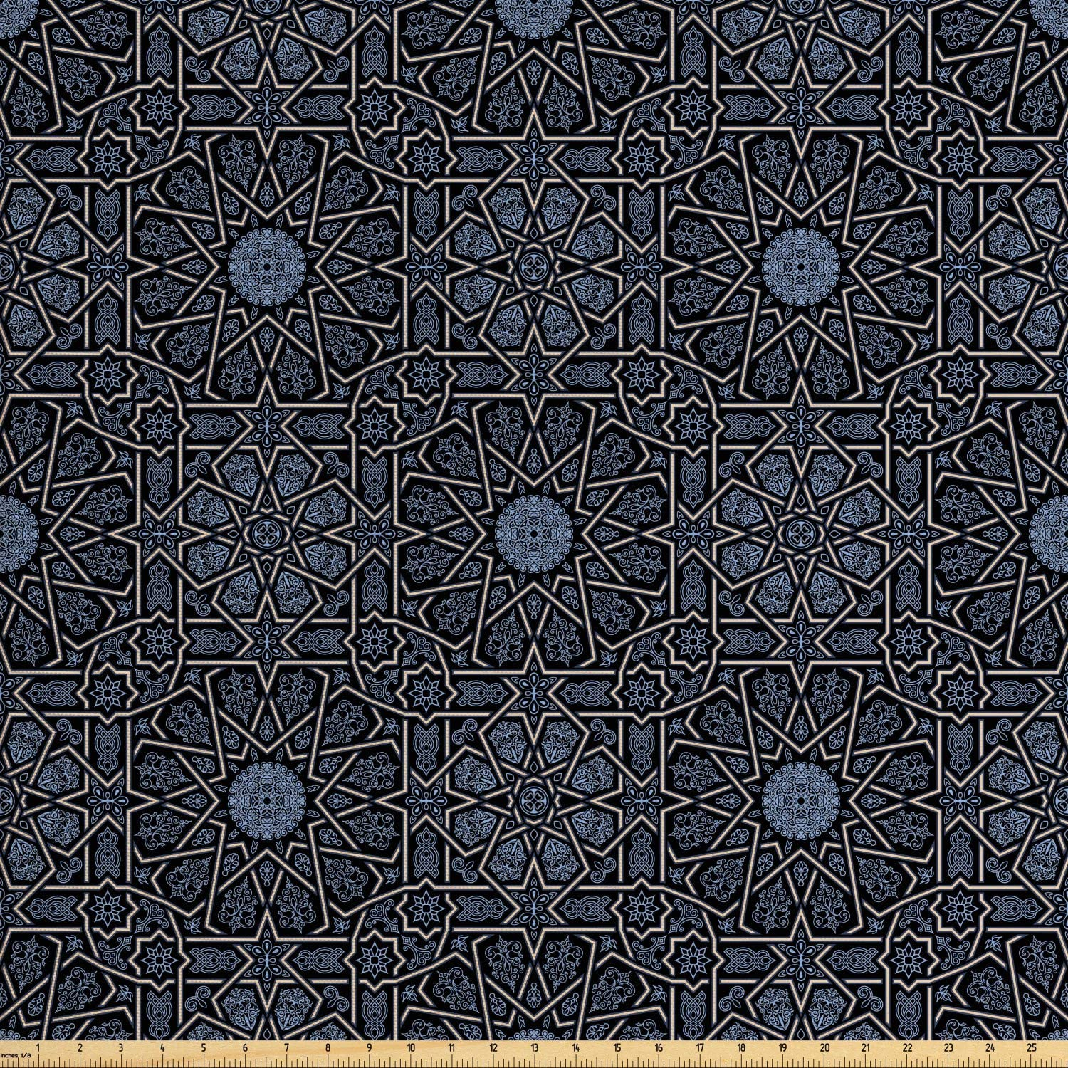 Ambesonne Moroccan Fabric by The Yard, Geometric Design with Old Rich Royal Elements and Moroccan Star Dark, Decorative Fabric for Upholstery and Home Accents, 1 Yard, Black Cream
