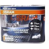 OSRAM Halogenlampe H11 NIGHT BREAKER UNLIMITED® 12V 55W 2er Set DUO