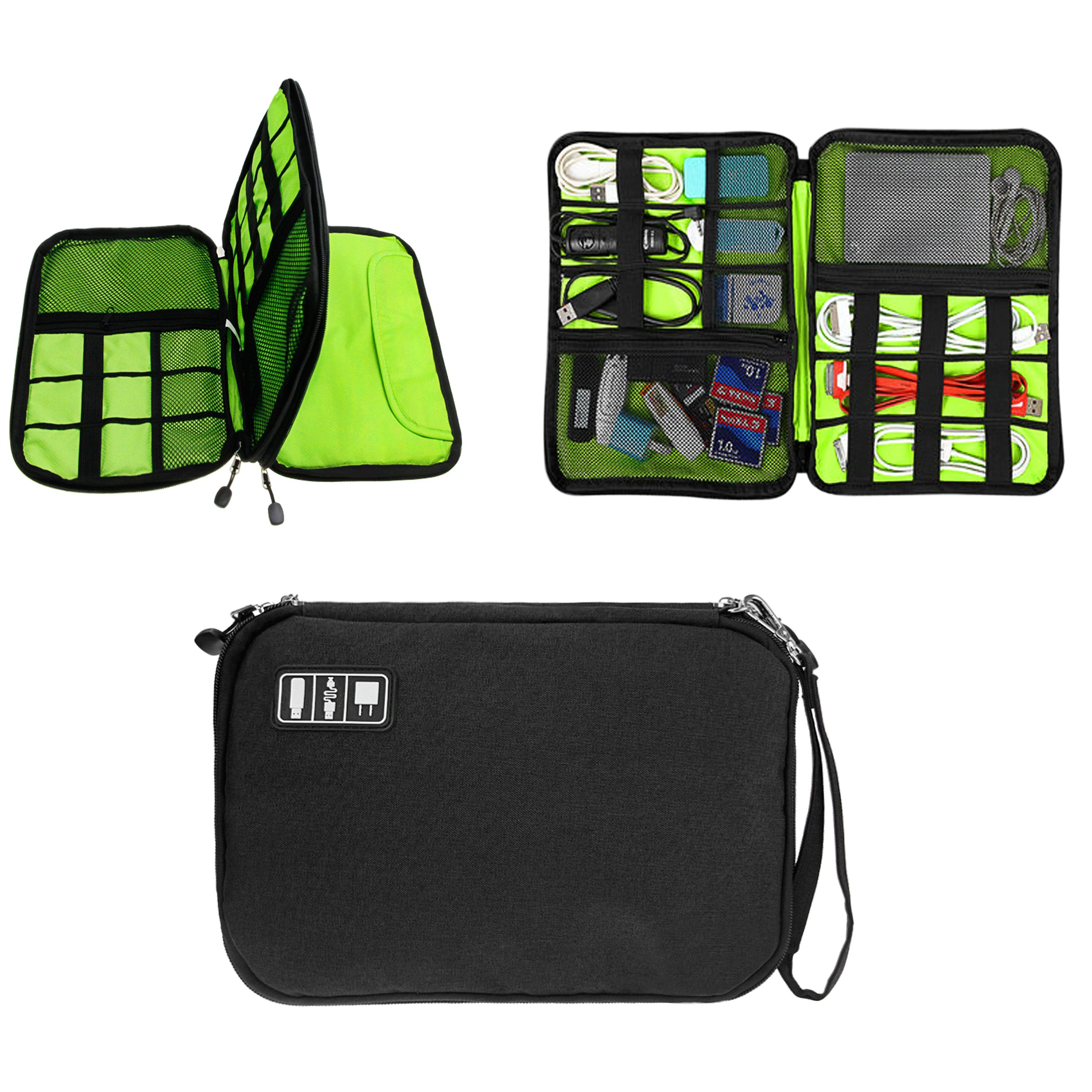 Double Layer USB Cable Hard Drive Case Electronics Accessory Organizer iPad Tablet Cellphone Cord Shuttle SD Card Reader Holder Travel Carrying Storage Bag Headphone Charger Clutter Protection Case