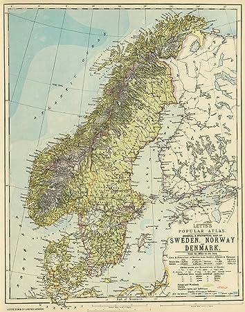 Amazon world atlas 1883 sweden norway denmark historic world atlas 1883 sweden norway denmark historic antique vintage map reprint gumiabroncs Images