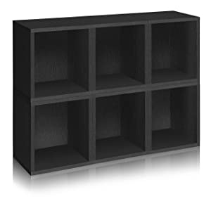 Way Basics Eco Stackable Modular Storage Cubes Plus Cubby Organizer (Set of 6), Black Wood Grain (Tool-Free Assembly and Uniquely Crafted from Sustainable Non Toxic zBoard paperboard)