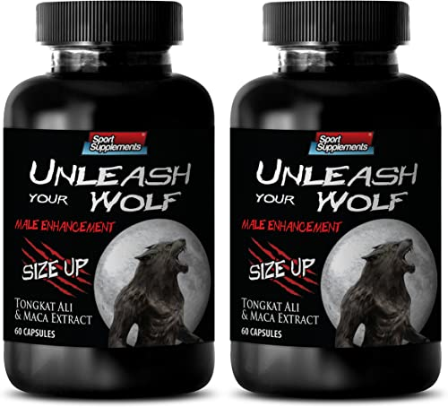 Male Fertility Supplements – Unleash Your Wolf Male Enhancement Natural Complex with Muira Puama, Maca, Tribulus, L-Arginine, Tongkat Ali – 2 Bottles 120 Capsules