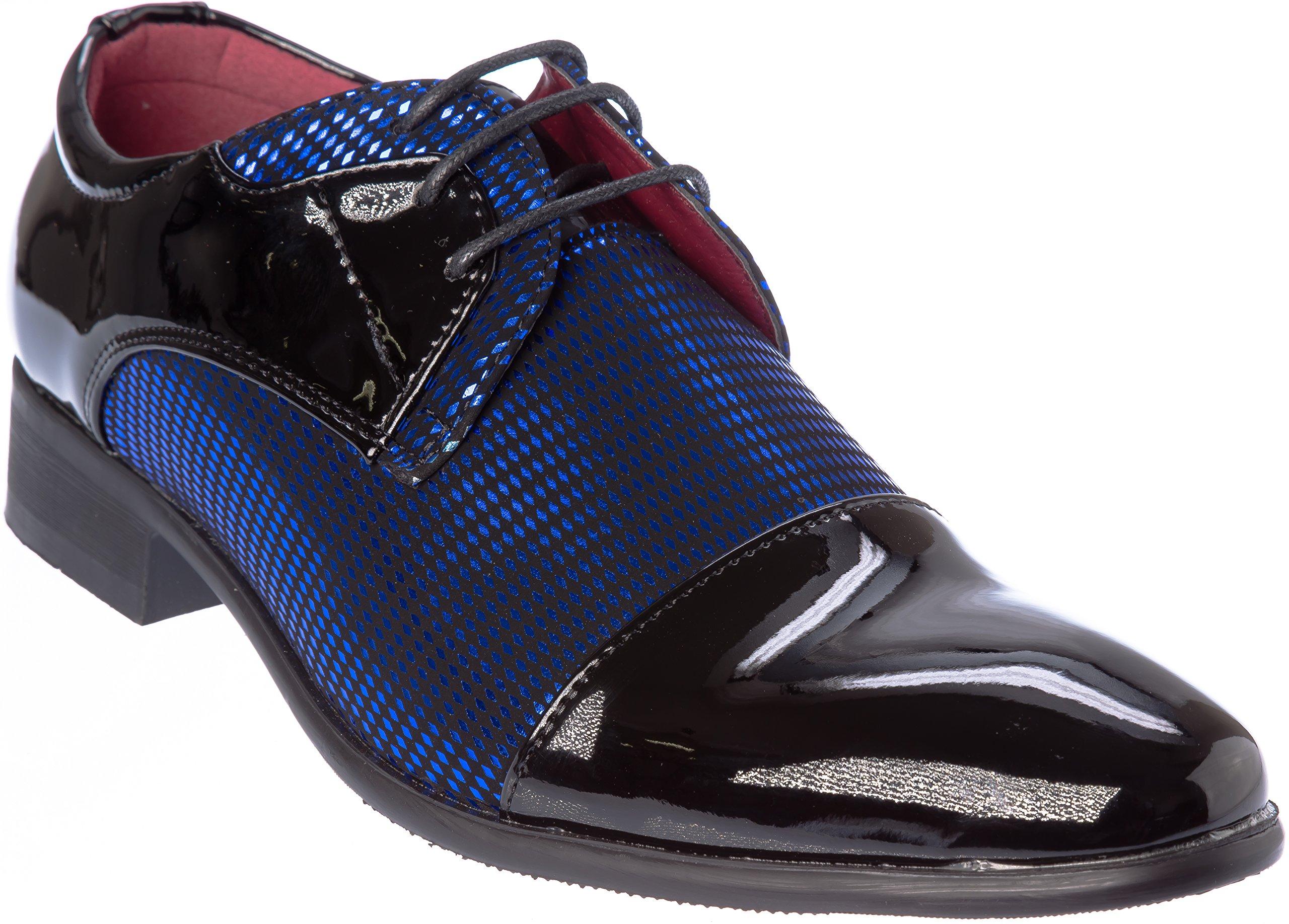 novak01 Mens Lace-up Oxford Black-Blue Dress-Shoes Size 13