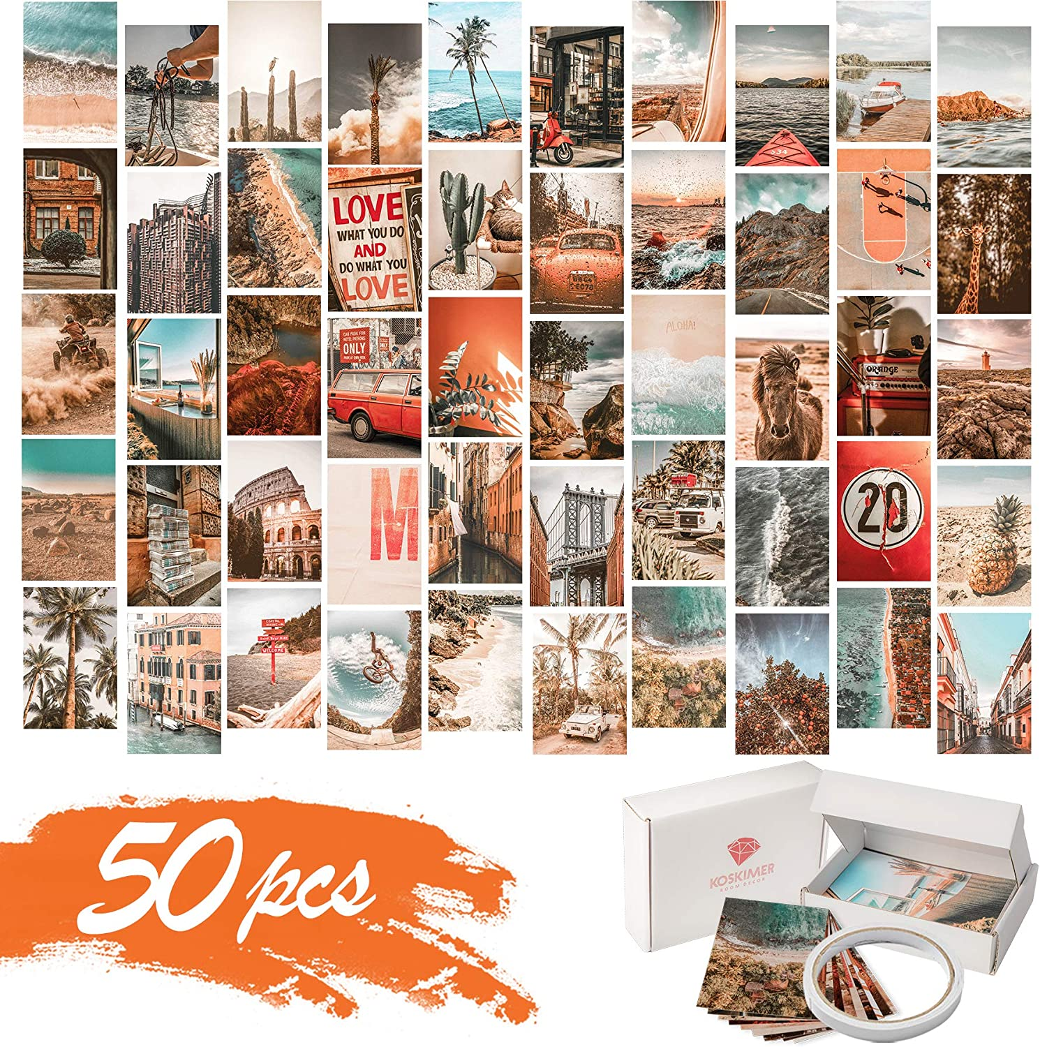 KOSKIMER Beach Teal Aesthetic Photo Collage Kit, 50 Set 4x6 Inch Wall Collage Kit Aesthetic Pictures, Bedroom Decor for Teen Girls, Boho Posters for Dorm Room Decor, Aesthetic Collage Kit