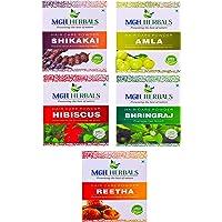 MGH Herbals Amla, Reetha, Shikakai, Bhringraj, Hibiscus Powder Combo Each 100Gms