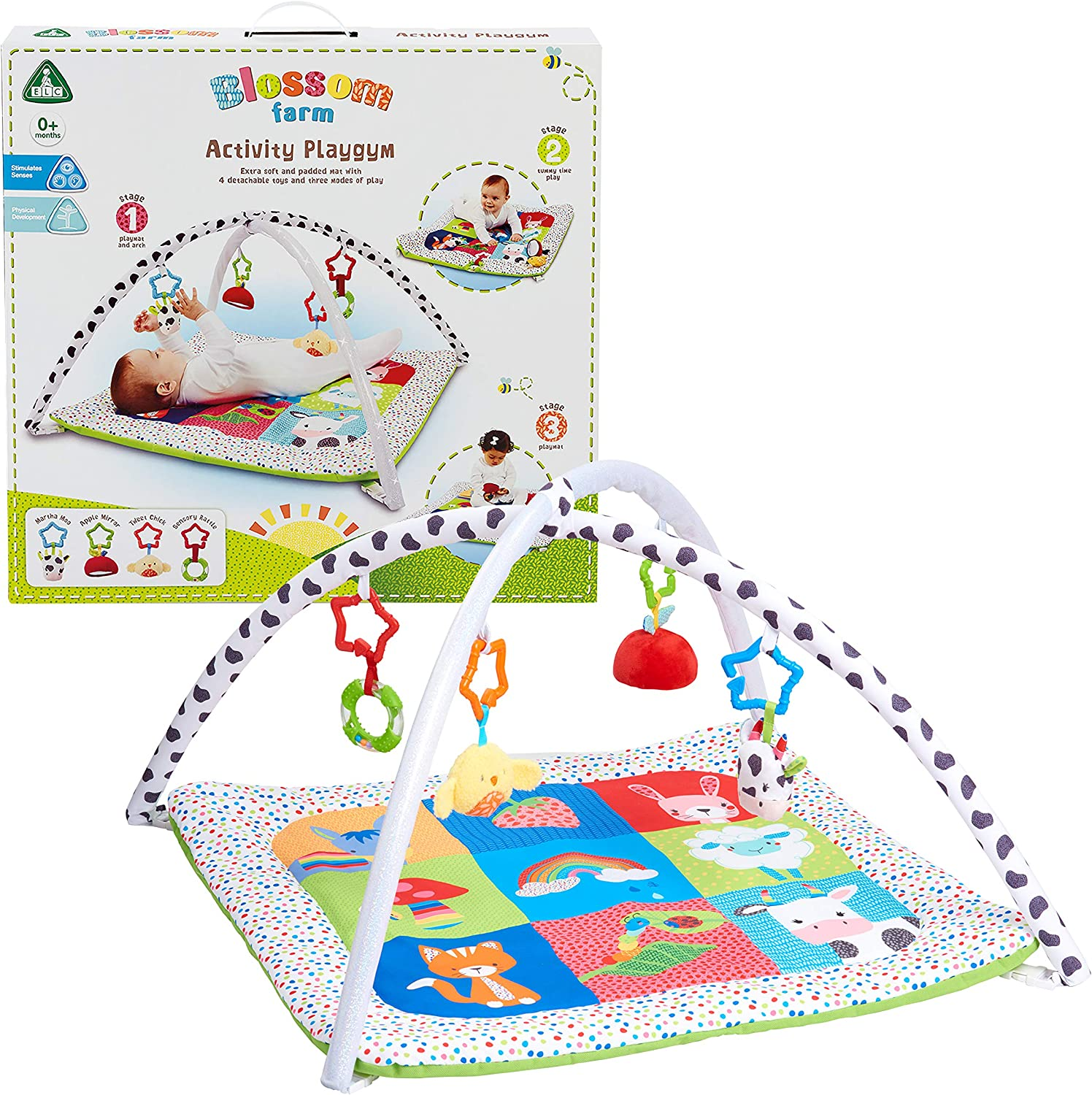 Early Learning Centre Blossom Farm Playmat & Arch, Physical Development, Hand Eye Coordination, Stimulates Senses, Baby Toys 0+ Months, Amazon Exclusive