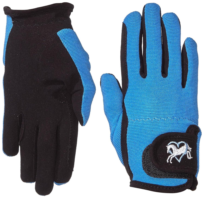 Riders Trend Mädchen Reiter Handschuhe Reithandschuhe Amara Palm mit Elastan-material Atmungsaktive Black/Sky CL 1007064 1007064-BLKSKY-CL