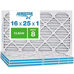 Aerostar Clean House 16x25x1 MERV 8 Pleated Air Filter, Made in The USA, 4-Pack, White