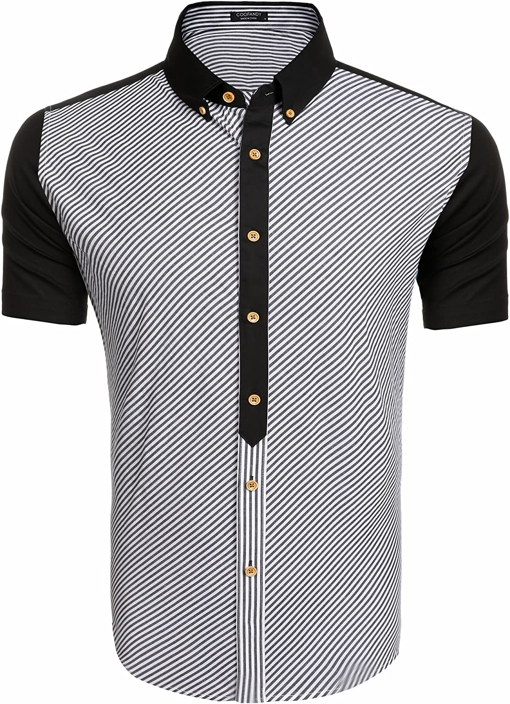 COOFANDY Mens Cotton Striped Short Sleeve Button Down Shirts Casual Dress Shirt