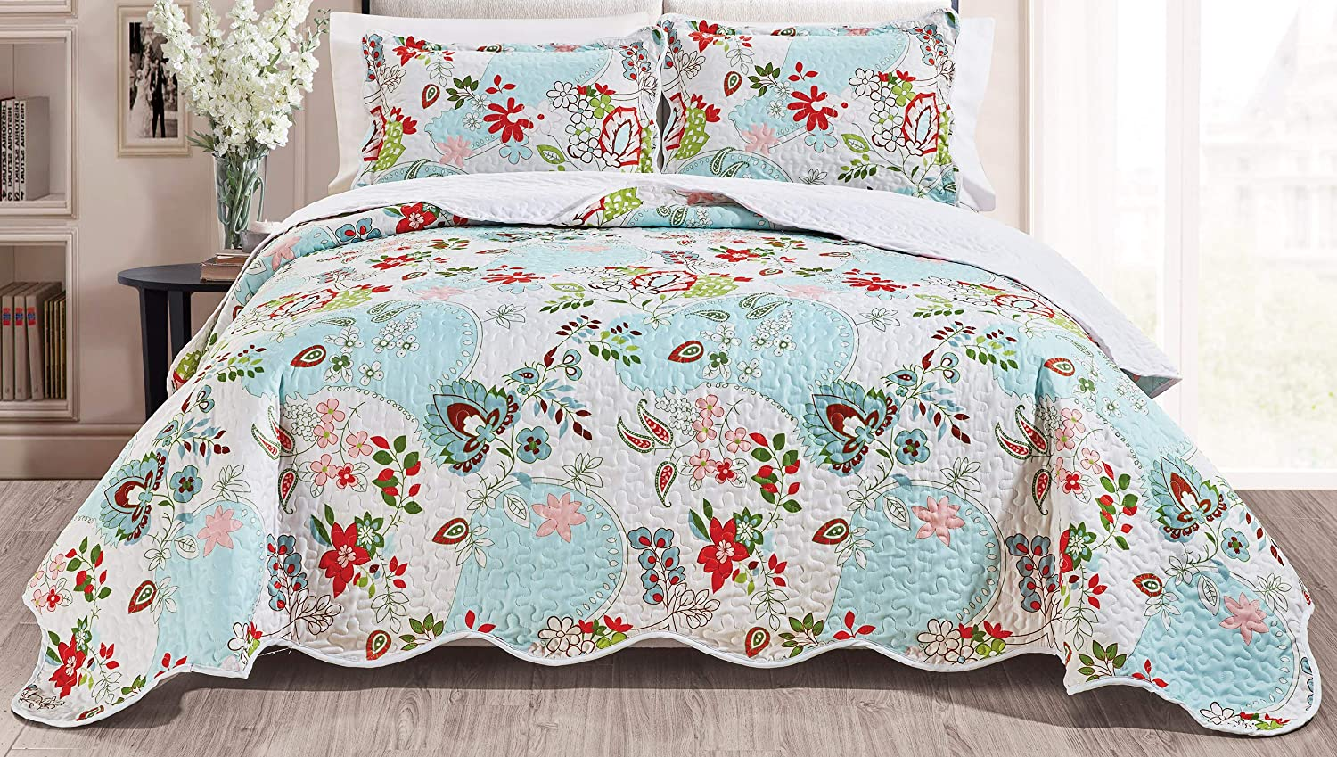 Quilt Set Reversible Bedspread Coverlet King Size Bed Cover (Red, Green, Blue Paisley)