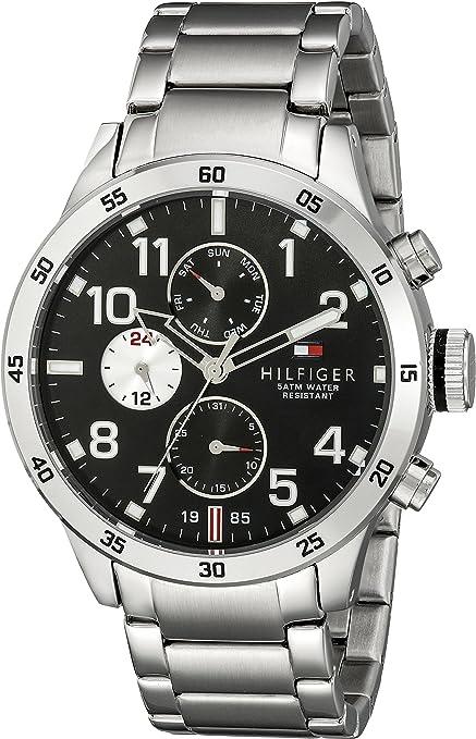 Amazon.com: Tommy Hilfiger 1791141 Cool Sport reloj de cuarzo, plateado, con esfera analógica, para hombre: Watches