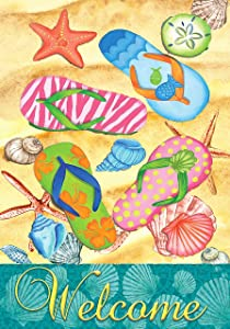 Wamika Summer Beach Flip Flops Garden Flag 12 x 18 Double Sided Tropical Nautical Starfish Shell Sand House Yard Flags Welcome Hello Summer Outdoor Indoor Banner for Party Home Decorations