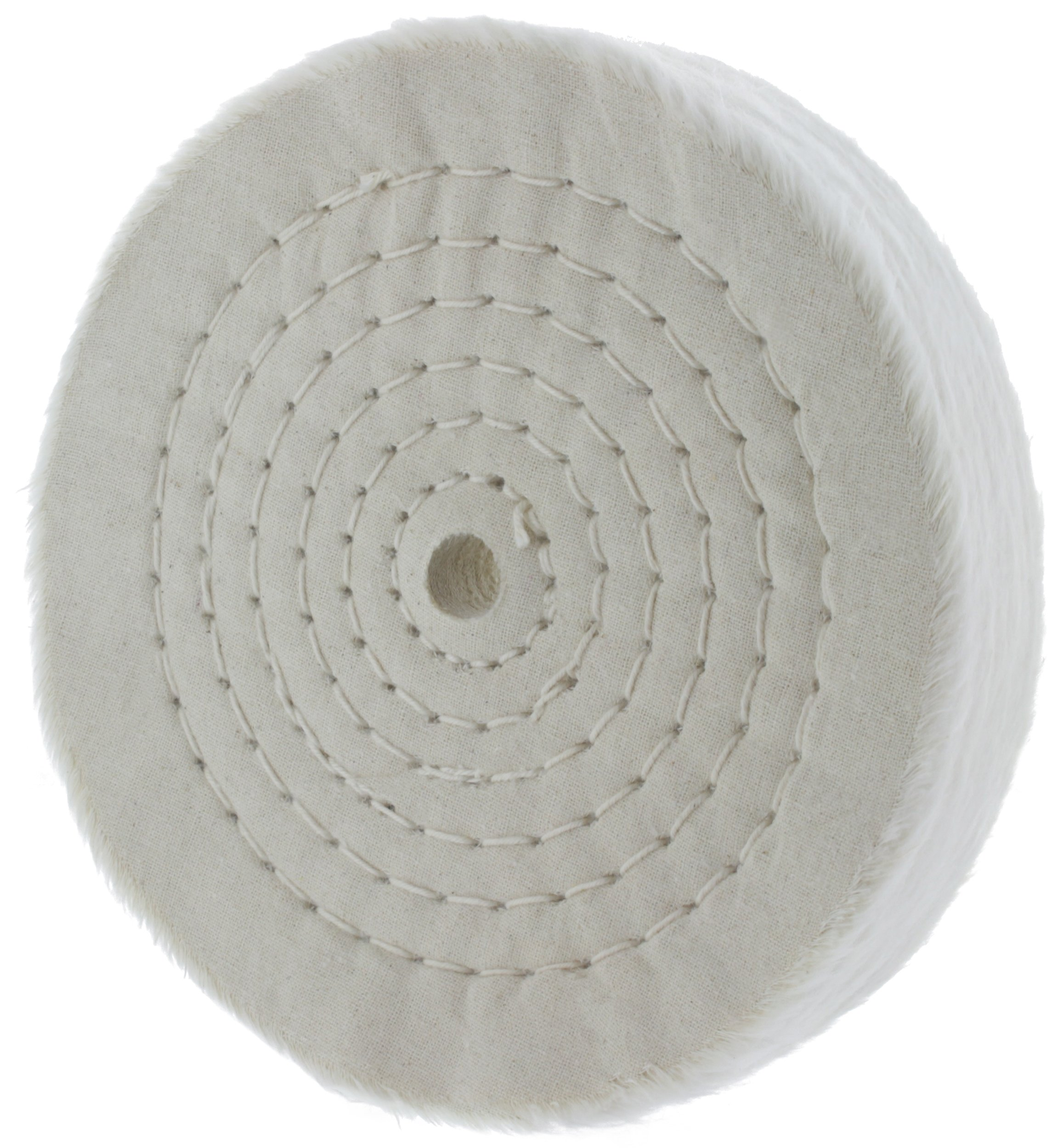 "Drixet Rigid 6 Inch Extra Thick Cotton Treated Spiral Sewn Buffing/Polishing Wheel with a 1/2"" Center Arbor Hole, (80 Ply)"