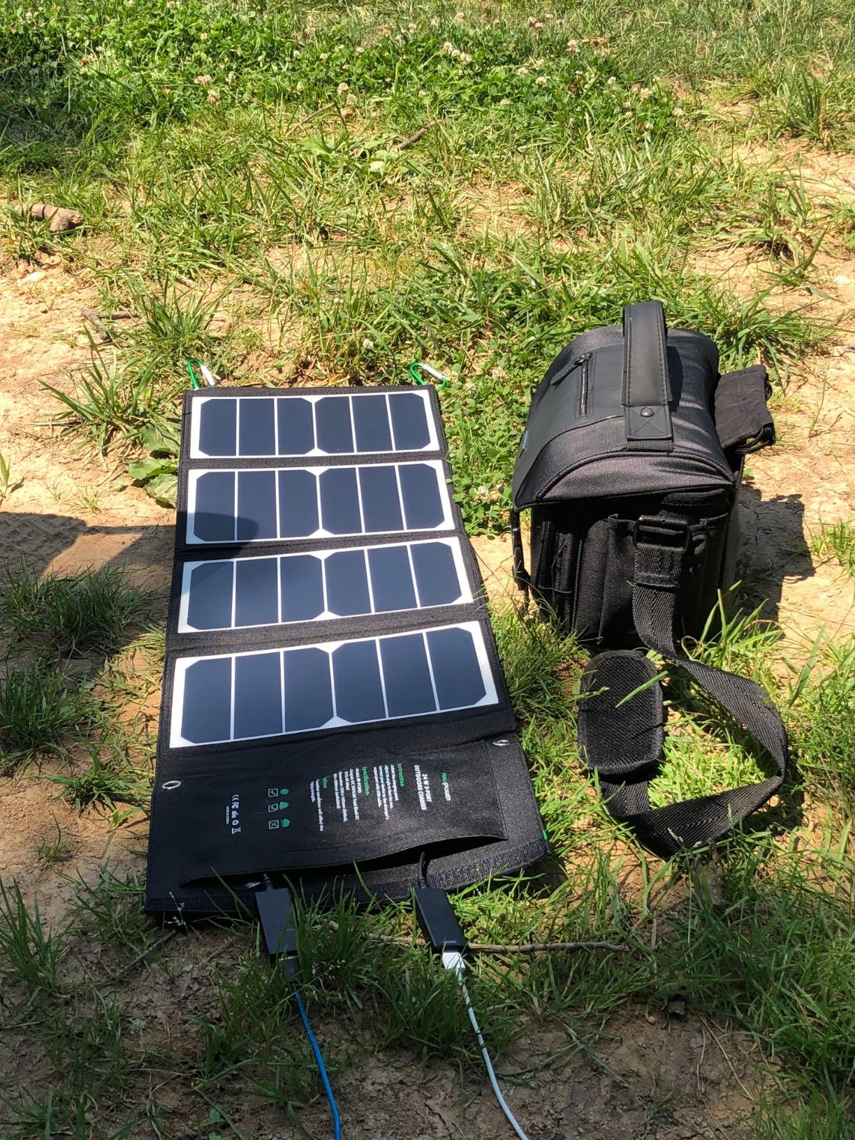 I decided to purchase the RAVPower 24W solar panel. I could not be happier. Super durable and very responsive. I highly recommend this for anyone