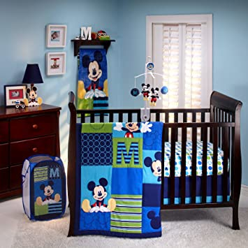 fe5c10b865 Image Unavailable. Image not available for. Color  Disney M Is for Mickey  Mouse 6 Piece Baby Crib Bedding ...