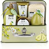 Essence of Luxury Spa Gift Basket. Pure Pear Spa Basket Natural Skin Care Gift Set is Best Birthday Gift, Thank You Gift for Women.#1 Bubble Bath Gift Basket,Body Lotion Gift Set with Bath Salt