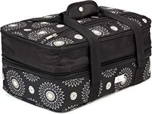 Pursetti Casserole Carrier - Expandable Insulated Bag Perfect as Lasagna & Pie Carrier for Potluck, Family and Holiday Parties (Cool Mandala w/Black Accent)