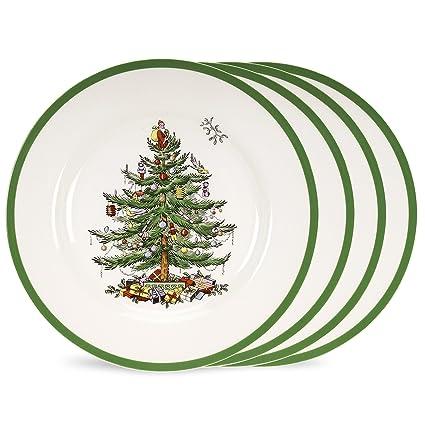 Amazon.com | Spode Christmas Tree Set of 4 Dinner Plates: Dinner Plates