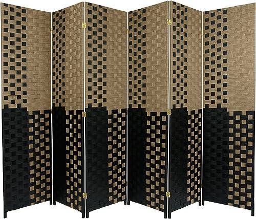 Oriental Furniture 6 ft. Tall Woven Fiber Room Divider – Olive Black – 6 Panel