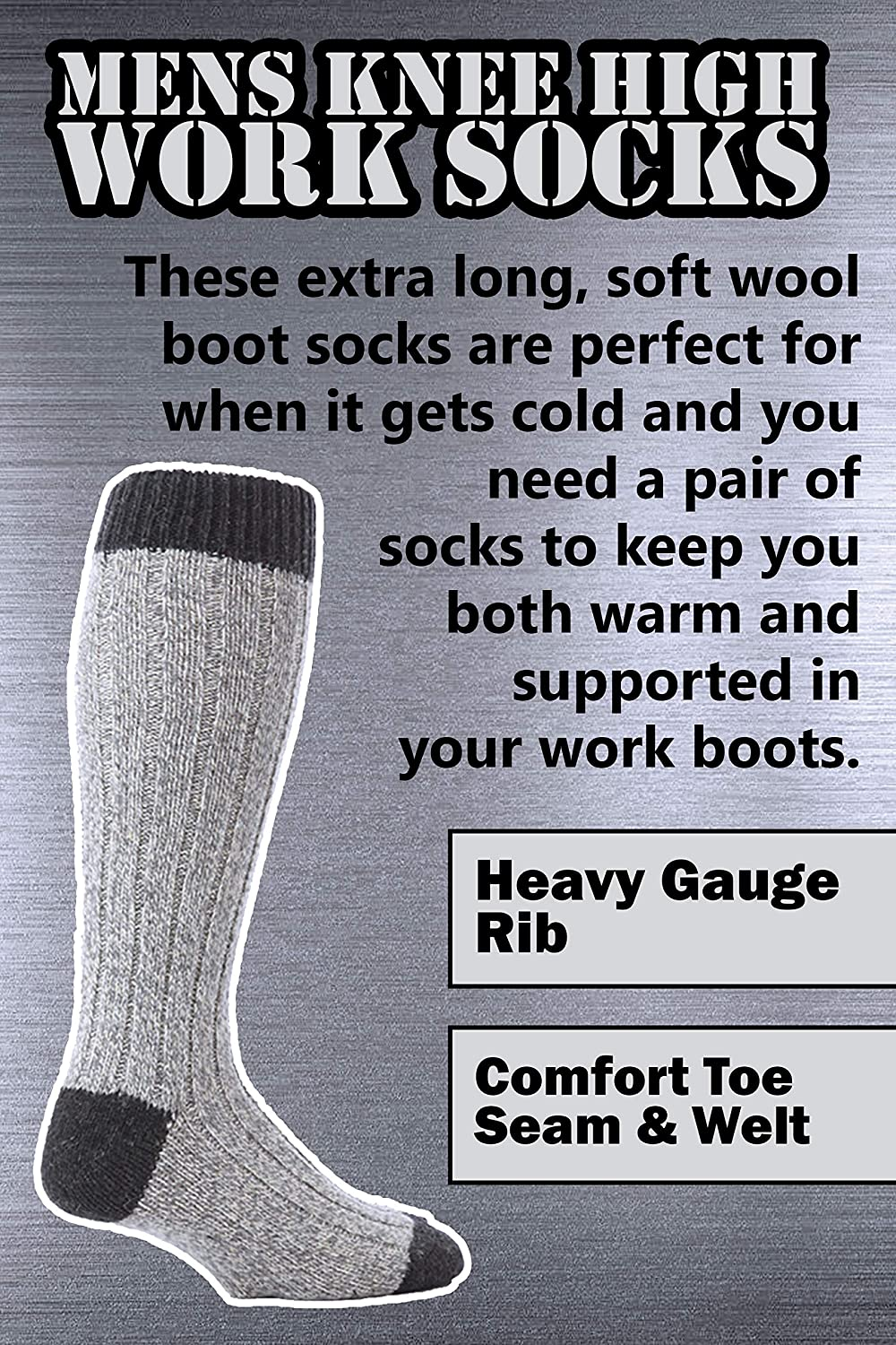 58b4d17d6 Amazon.com  Workforce - 3 Pairs Mens Extra Long Knee High Thick Warm Wool  Rich Knitted Boot Socks (WFH0035GRY)  Clothing
