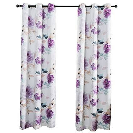 MYSKY HOME Printed Floral Curtains For Living Room Darkening Grommet Curtain Panels 42 Inch