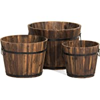 Best Choice Products 3-Set Wood Barrel Planter with Drainage Holes