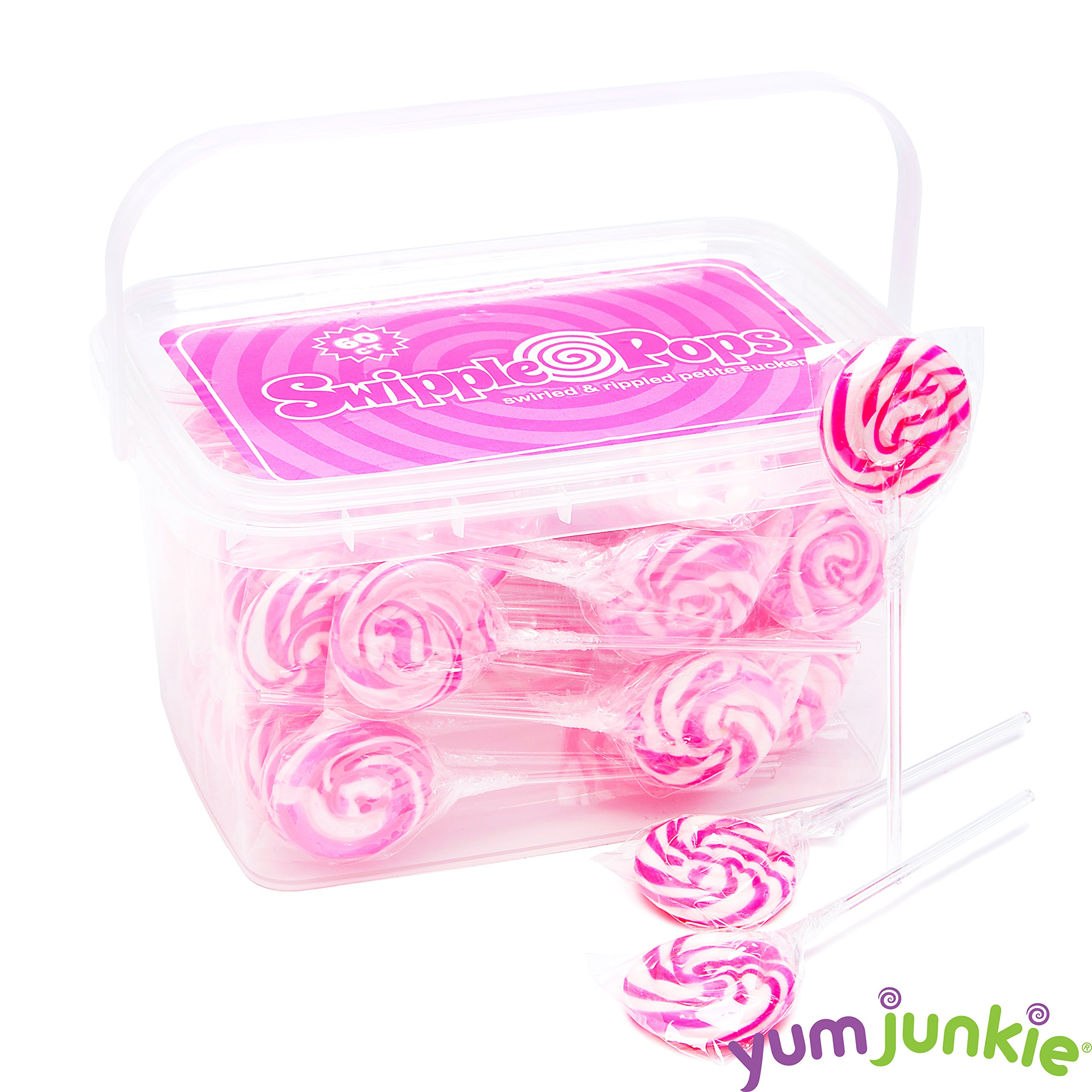 Swipple Pops Petite Swirl Ripple Lollipops - 60-Piece Tub (Pink) by YumJunkie