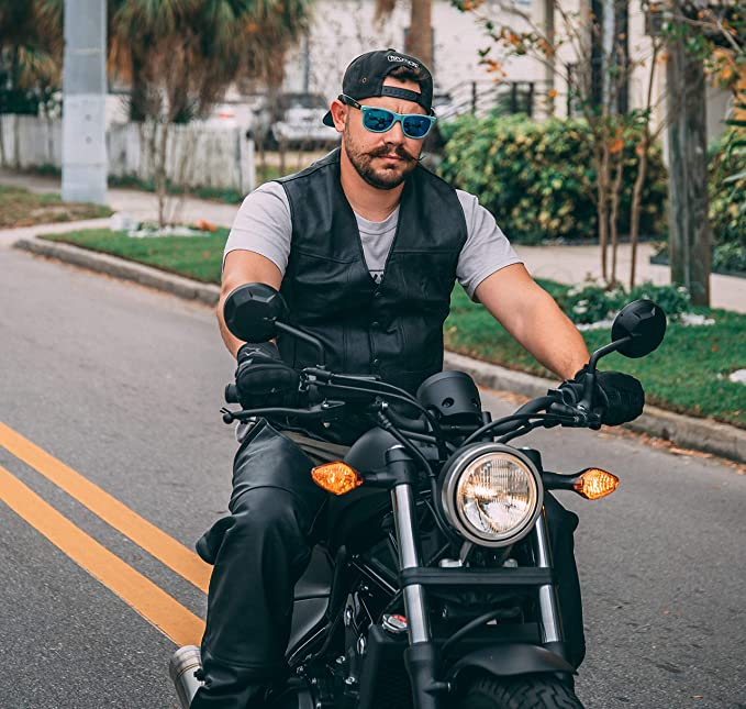 Motorcycle-Biker-Rocker-Leisure - C Leather Vest Black M Shoulder Buckle