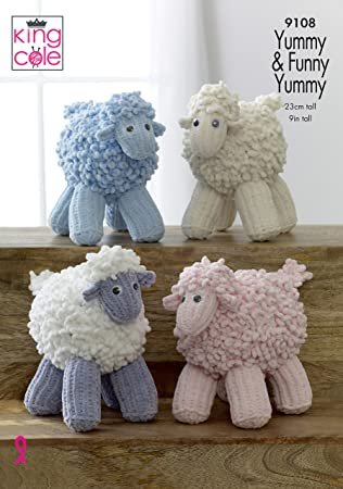 King Cole Yummy And Funny Knitted Sheep Knitting Pattern 9108