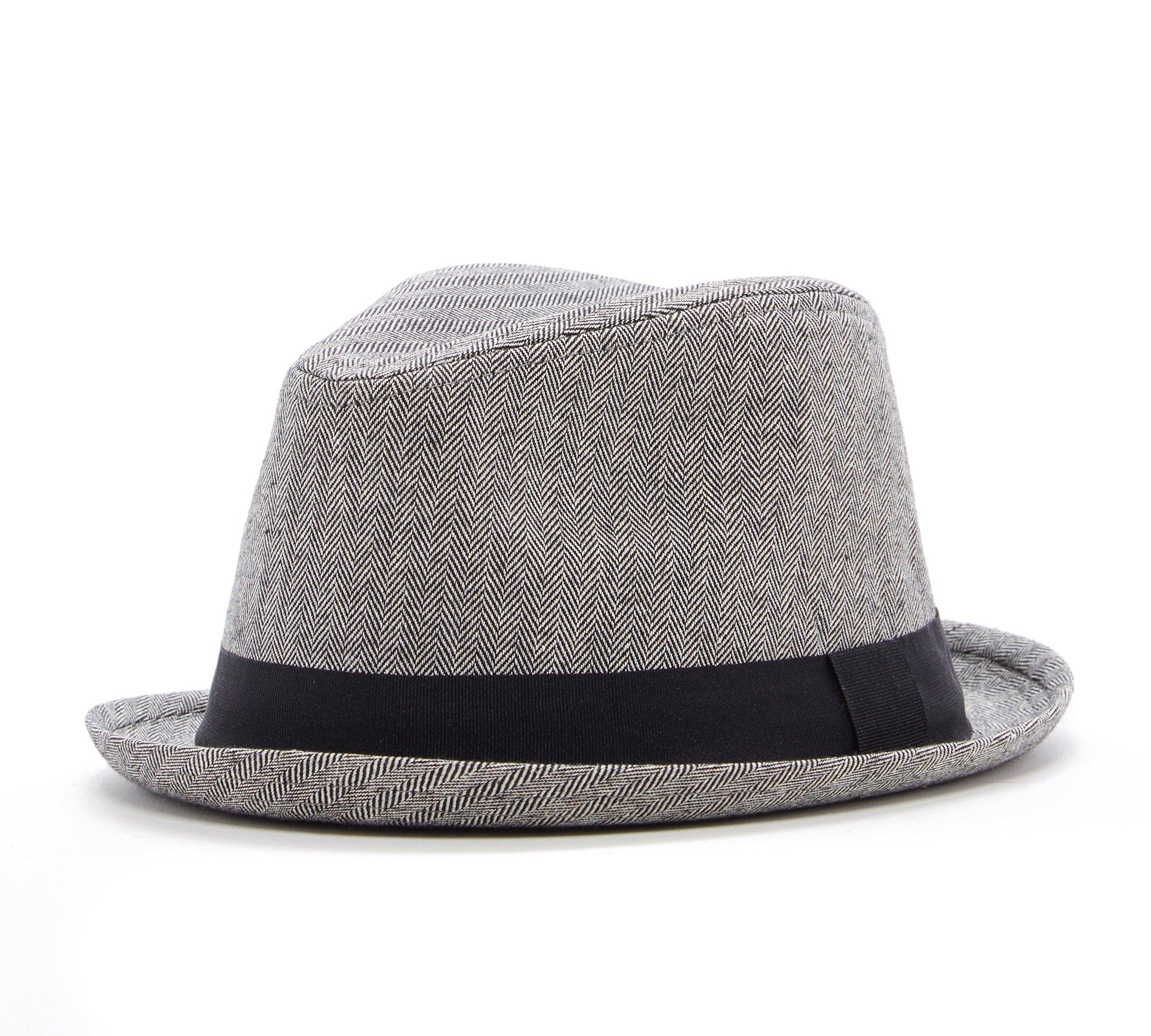 Born to Love Boy's Fedora Hat with Black Band (55 cm, Herringbone)