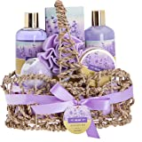Lavender Bath Spa Gift Basket with Relaxation Gifts for Women: 7 Pc Bath Spa Kit Includes Lavender Body Lotion, Bubble…