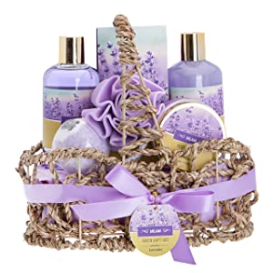 Lavender Bath Spa Gift Basket with Relaxation Gifts for Women: 7 Pc Bath Spa Kit Includes Lavender Body Lotion, Bubble Bath, Shower Gel, Bath Salt, Bath Bomb, Flower Loofah and Basket for Home Spa