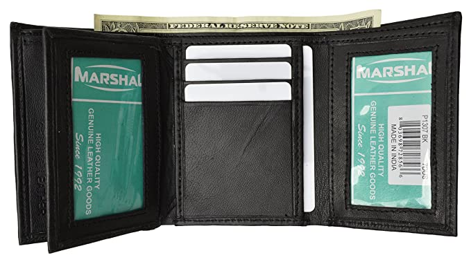 mens trifold wallet extra capacity 10 inside slots 2 id windows by