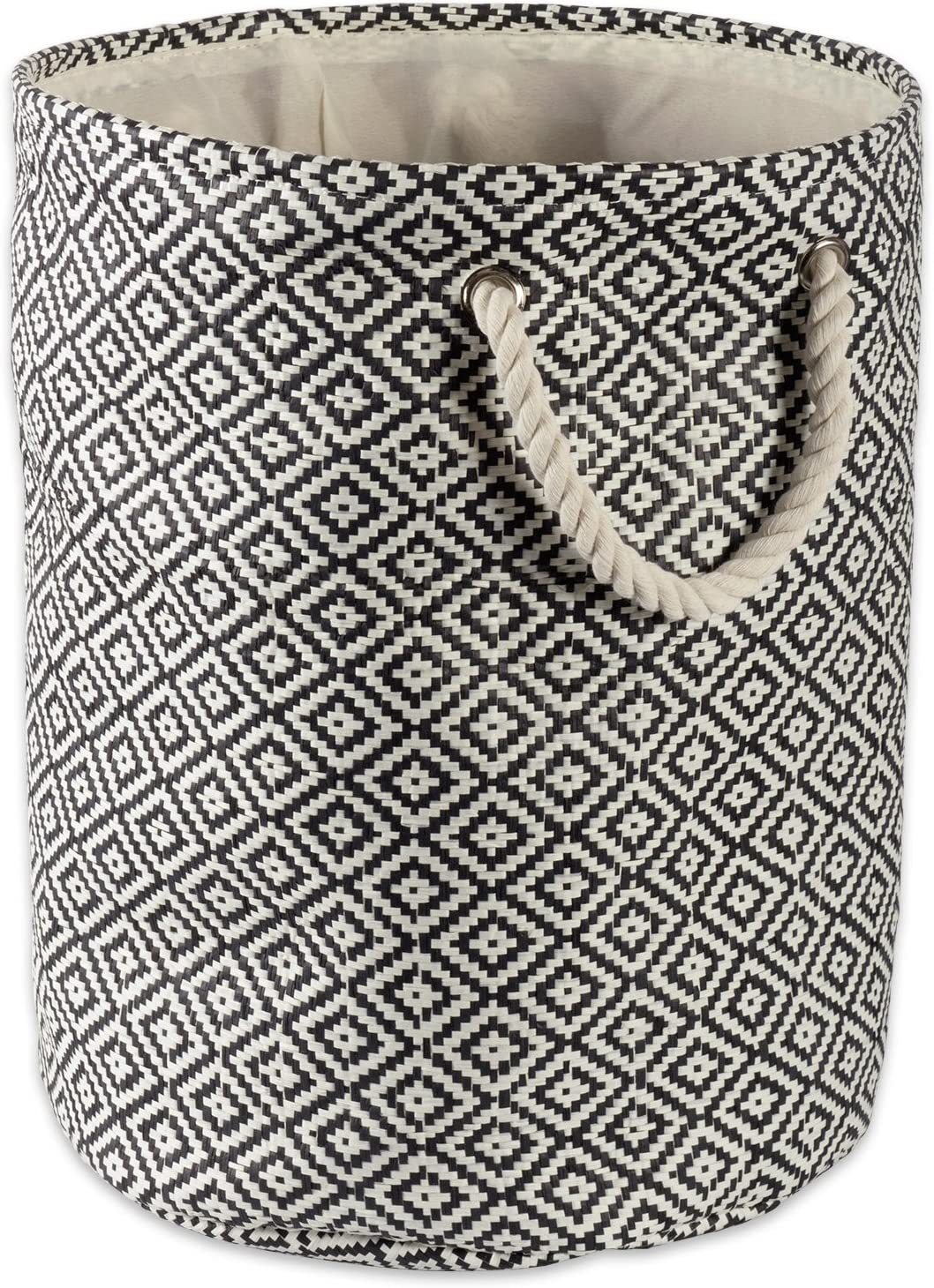 DII Geo Diamond Woven Paper Laundry Hamper or Storage Bin, Medium Round, Black