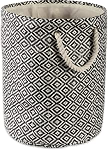 DII Geo Diamond Woven Paper Laundry Hamper or Storage Bin, Large Round, Black