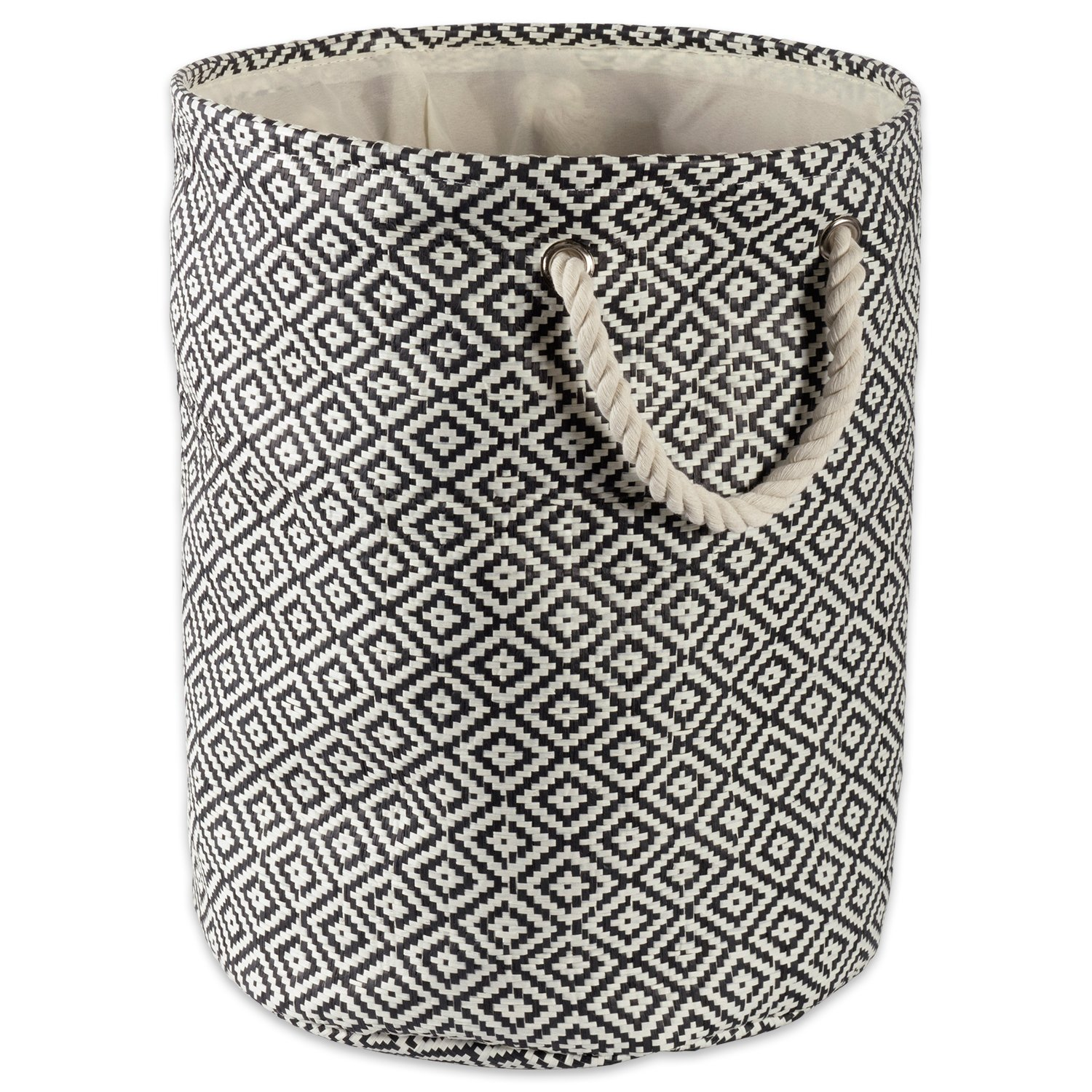 DII Woven Paper Basket or Bin, Collapsible & Convenient Home Organization Solution for Bedroom, Bathroom, Dorm or Laundry (Large Round - 15x20) - Black Geo Diamond