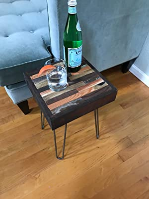 Side table End table Reclaimed rustic hairpin legs