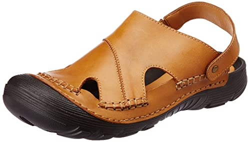 f33de6cdbd8 Miraatti Men s Coffee leather Sandals and Floaters - 11 UK (s121-5 ...