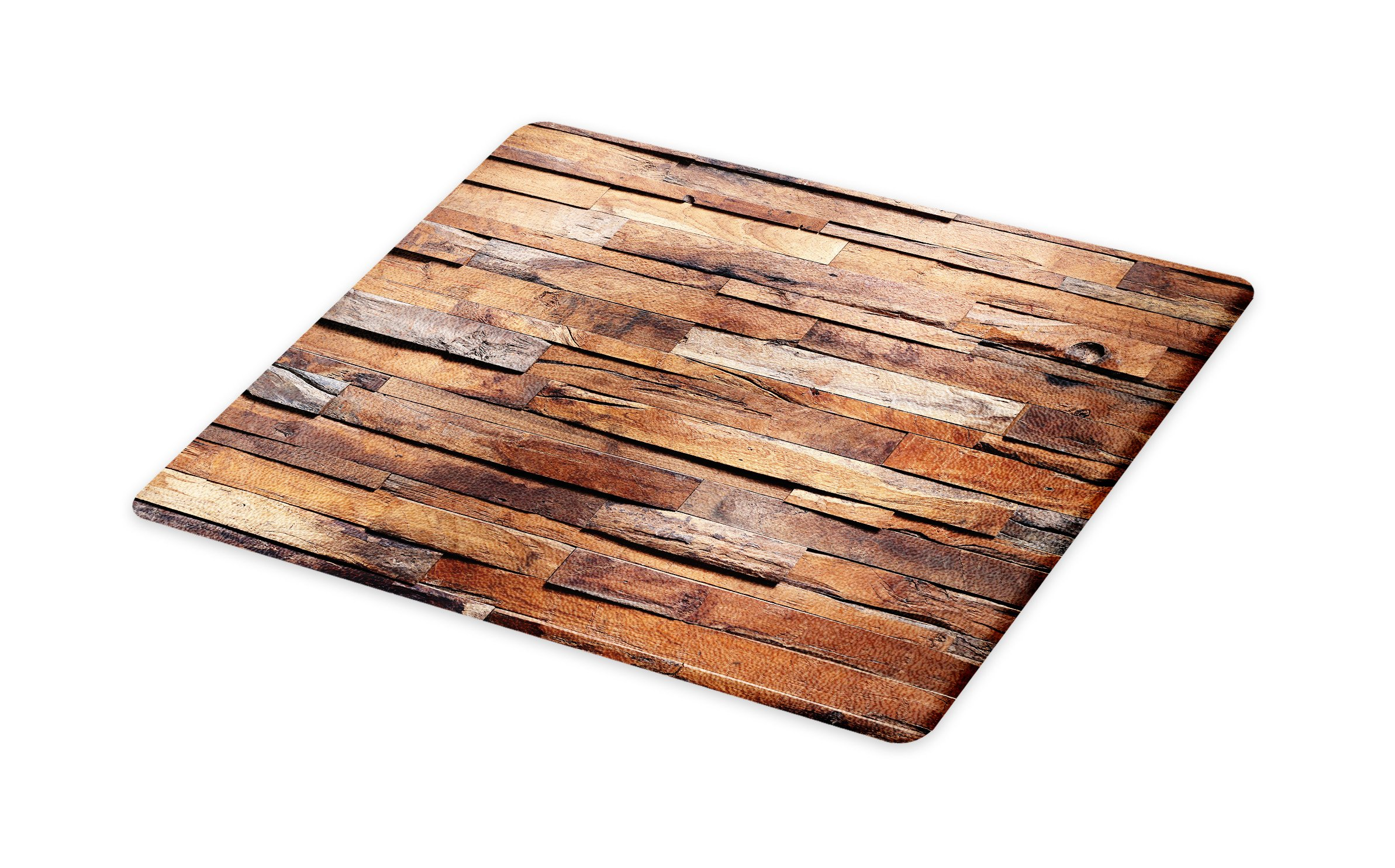 Lunarable Wooden Cutting Board, Old Ruined Rustic Planks in Horizontal Order Construction Country House Picture, Decorative Tempered Glass Cutting and Serving Board, Large Size, Cinnamon Umber