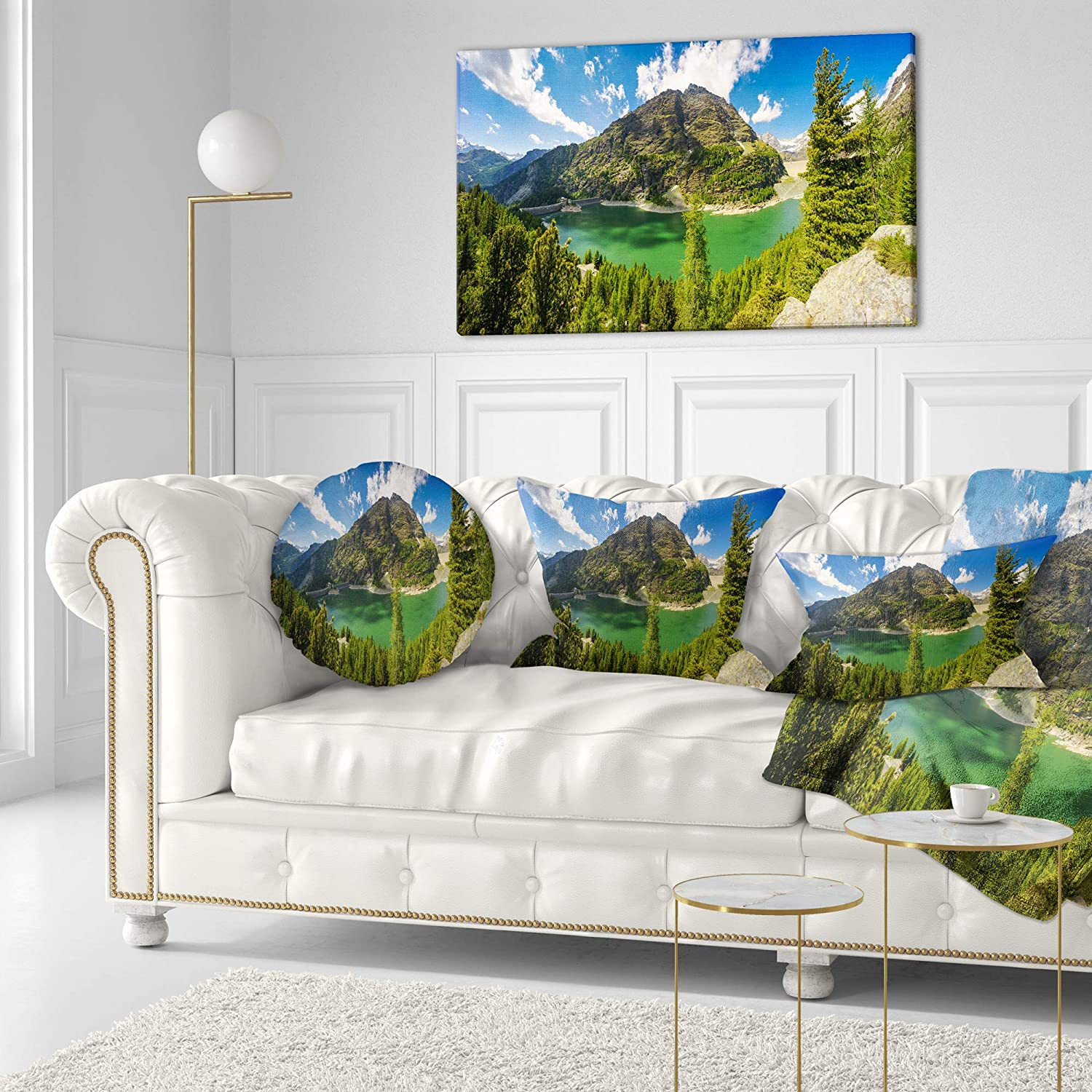 Designart CU15380-16-16-C Greeny Alpine Reservoir Landscape Printed Round Cushion Cover for Living Room Sofa Throw Pillow 16 Insert Side