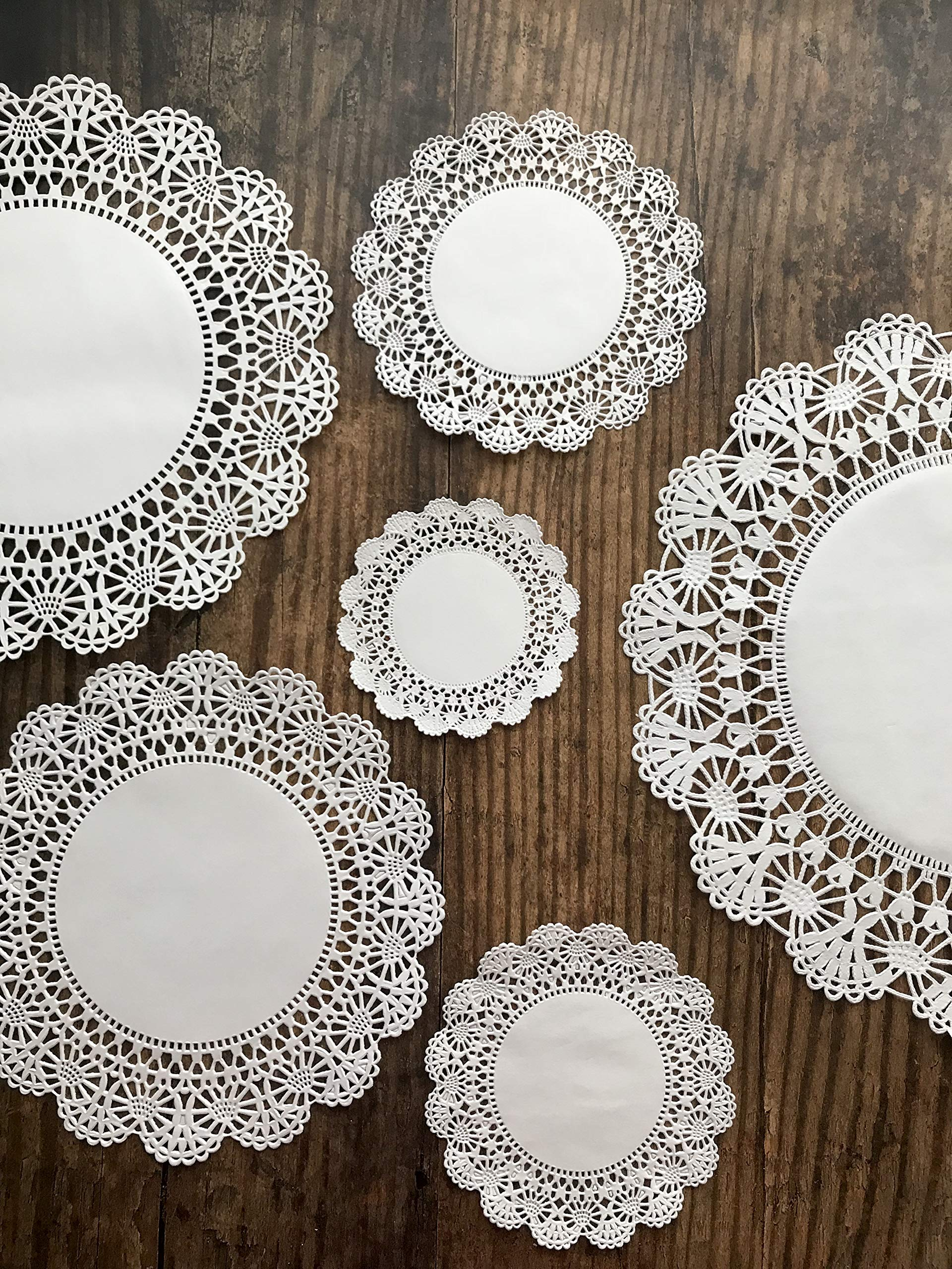 Round paper Lace Table Doilies – 4, 5, 6, 8, 10 and 12 inch Assorted Sizes; White Decorative Tableware papers Placemats, (Variety pack of 120 – 20 of each) by The Baker Celebrations (Image #2)