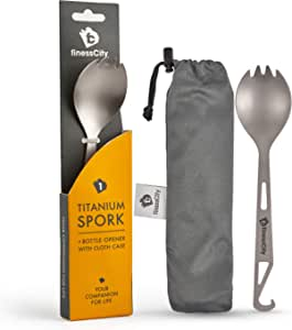 Titanium Spork (Spoon Fork) with Bottle Opener Extra Strong Ultra Lightweight (Ti), Healthy & Eco-Friendly Spoon, Fork & Bottle Opener for Travel/Camping in Easy to Store Cloth Case