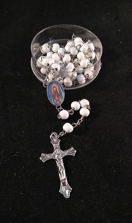 Virgen De Guadalupe, Rosarios Blancos De Madera Para Recuerdos De Bautizo/Primera Comunion 12