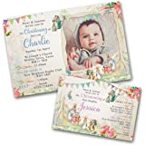 Personalised Boys Joint Christening First Birthday Invitations