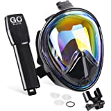 GoScapes Full Face Snorkel Mask – UV Protection Rainbow Mirror Coating on Black Snorkeling Mask, GoPro Compatible, Panoramic 180 degree view, Anti-Fog and Anti-Gag Technology, For Adults and Youth