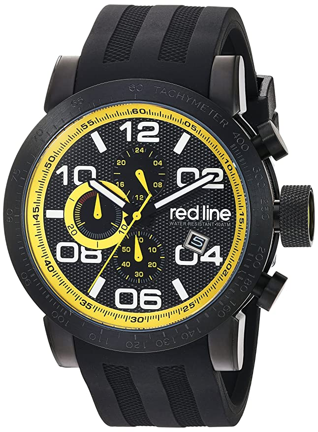 Amazon.com: red line Mens Night Rally Quartz Stainless Steel and Silicone Watch, Color:Black (Model: RL-50068-BB-01-YDR): Watches